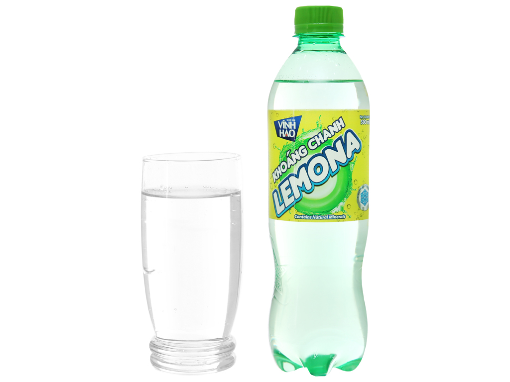Thùng 24 chai nước khoáng có ga Vĩnh Hảo Lemona vị chanh 500ml 5