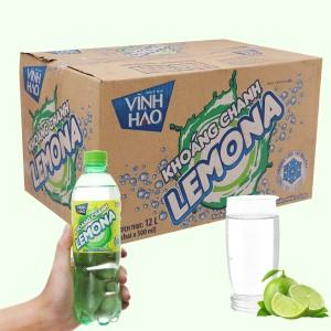 Thùng 24 chai nước khoáng có ga Vĩnh Hảo Lemona vị chanh 500ml