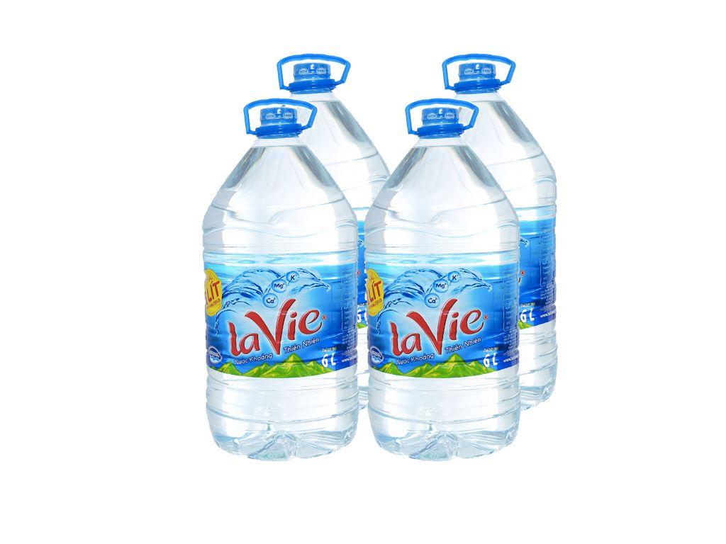 Thùng 4 chai nước khoáng La Vie 6 lít 1