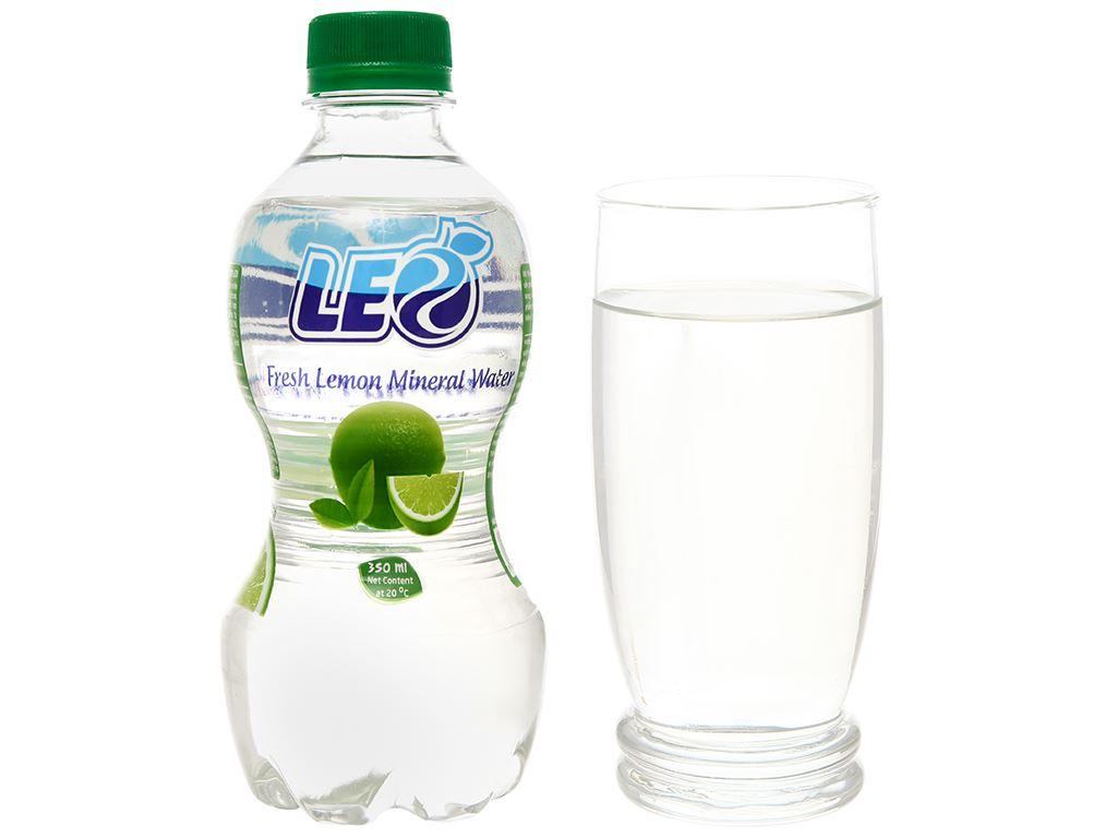 6 chai nước khoáng có ga Leo vị chanh 350ml 6