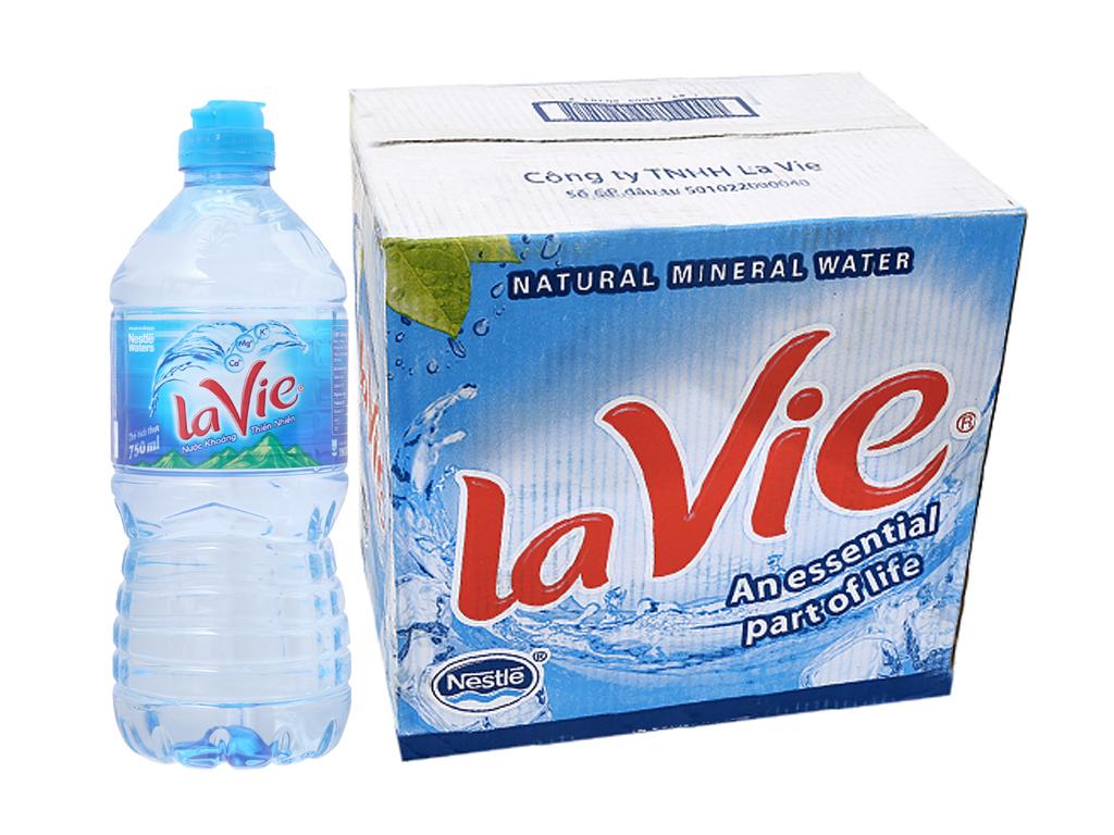 Thùng 12 chai nước khoáng La Vie 750ml 1