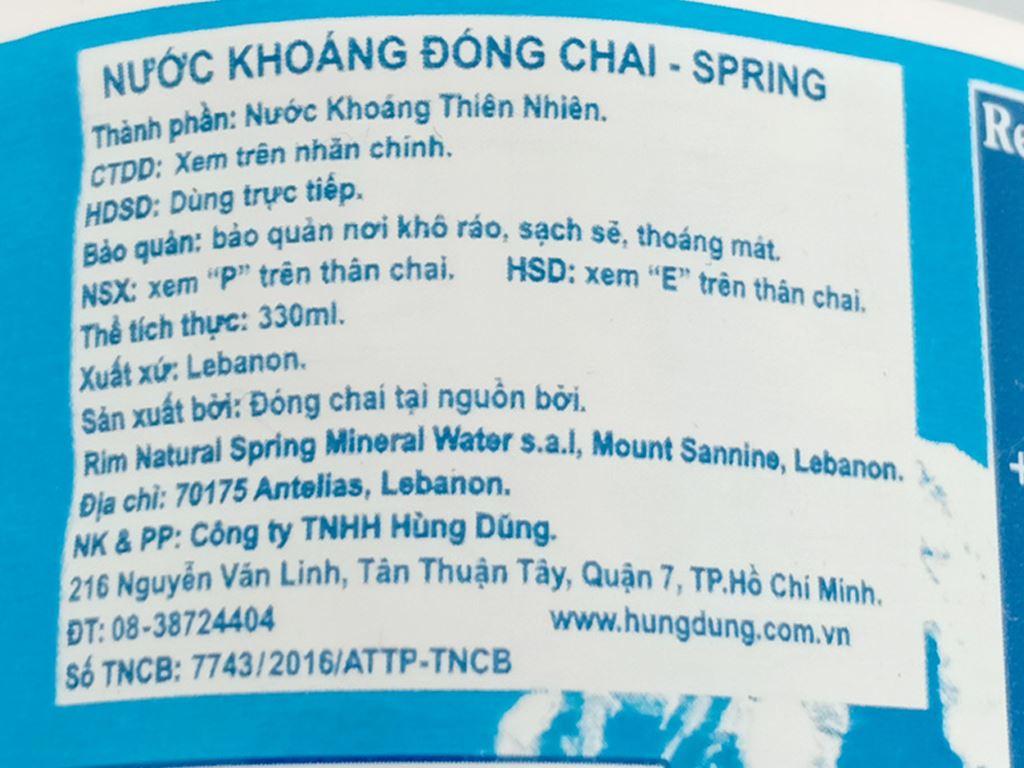 6 chai nước khoáng Spring 330ml 4