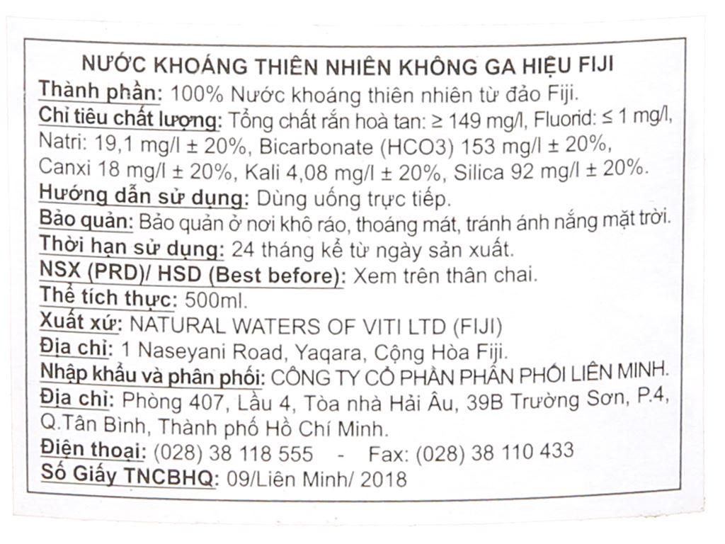 6 chai nước khoáng Fiji 500ml 4