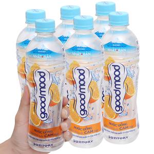 6 chai nước uống Good Mood vị cam 455ml