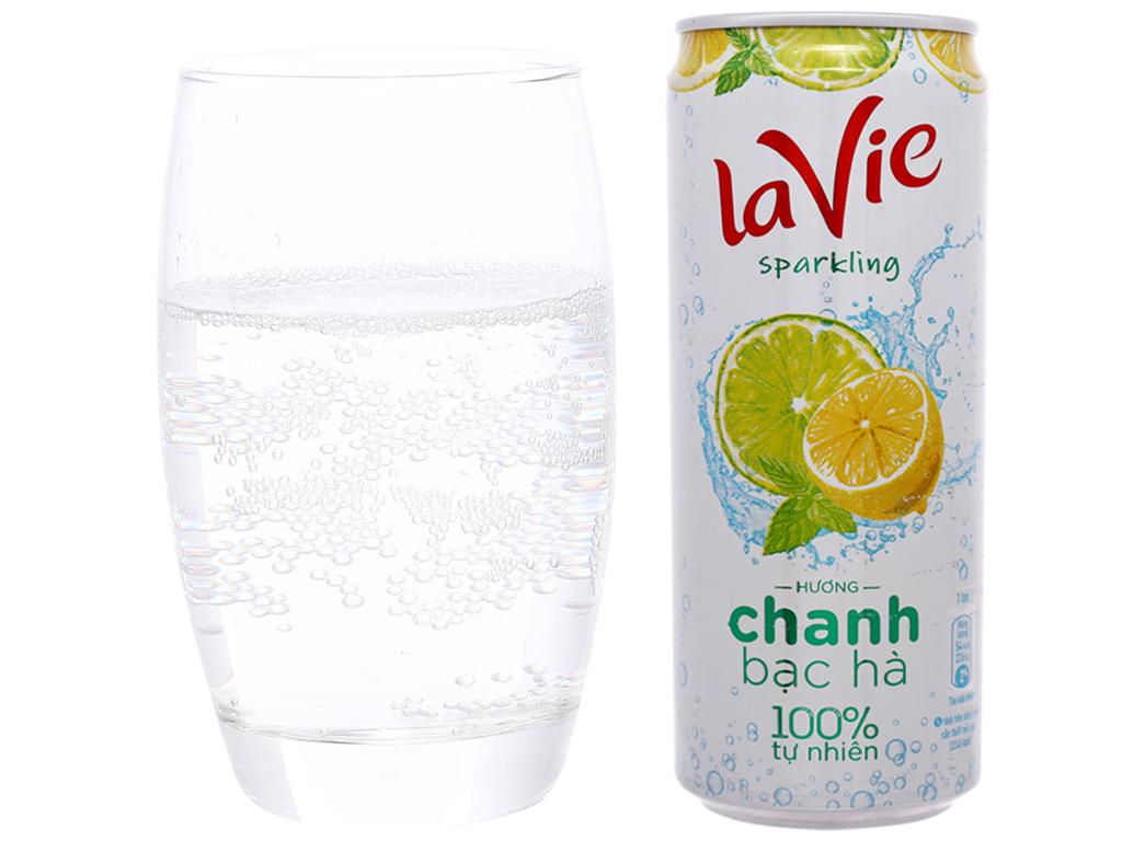 Nước uống vị trái cây có ga La Vie Sparkling hương chanh bạc hà 330ml 6