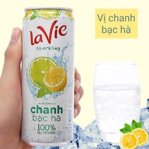Nước uống vị trái cây có ga La Vie Sparkling hương chanh bạc hà 330ml
