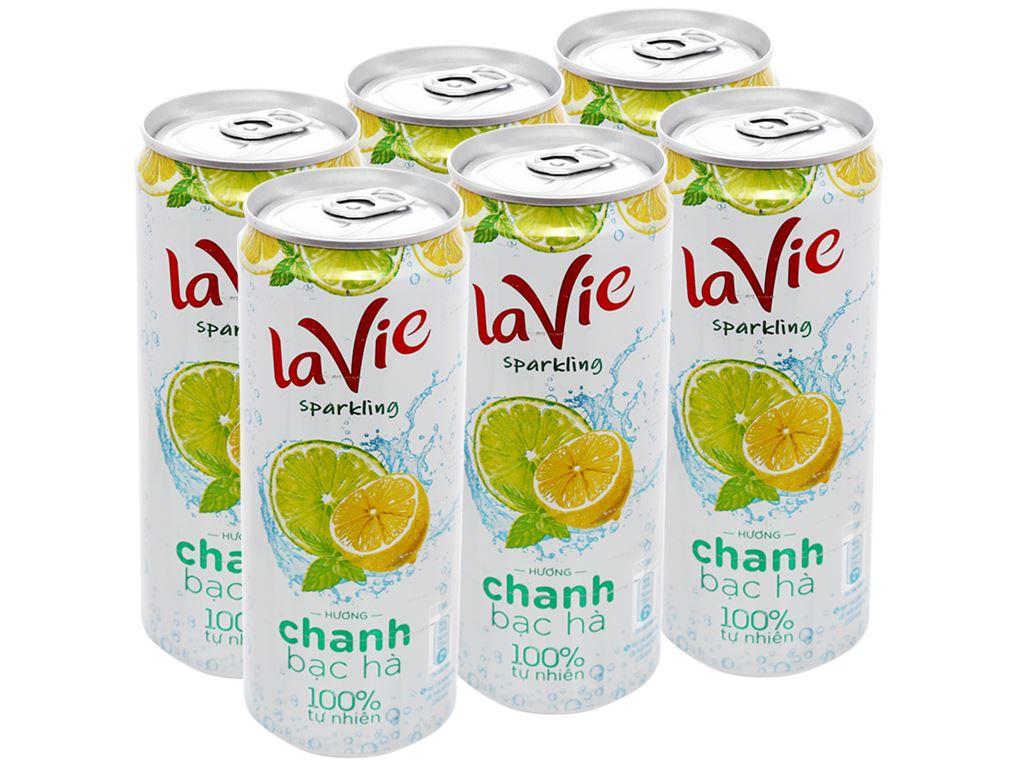 6 lon nước uống vị trái cây có ga La Vie Sparkling hương chanh bạc hà 330ml 1