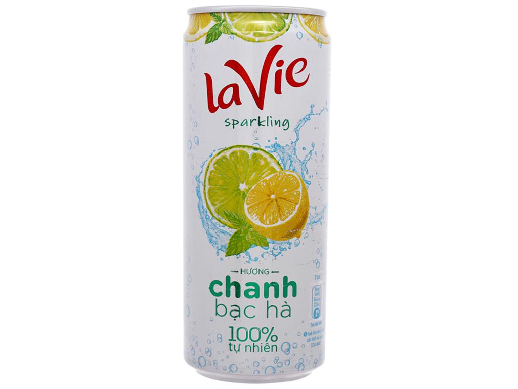 6 lon nước uống vị trái cây có ga La Vie Sparkling hương chanh bạc hà 330ml 2