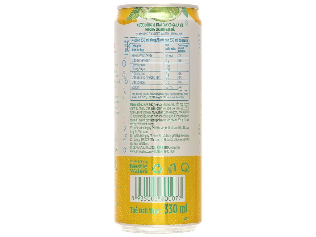 6 lon nước uống vị trái cây có ga La Vie Sparkling hương chanh bạc hà 330ml 5