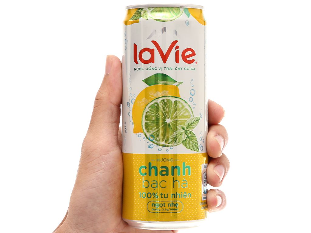 6 lon nước uống vị trái cây có ga La Vie Sparkling hương chanh bạc hà 330ml 7