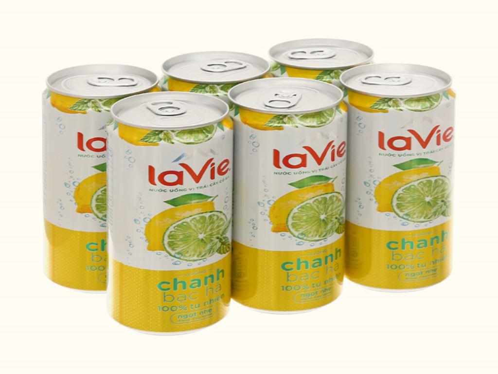 6 lon nước uống vị trái cây có ga La Vie Sparkling hương chanh bạc hà 330ml