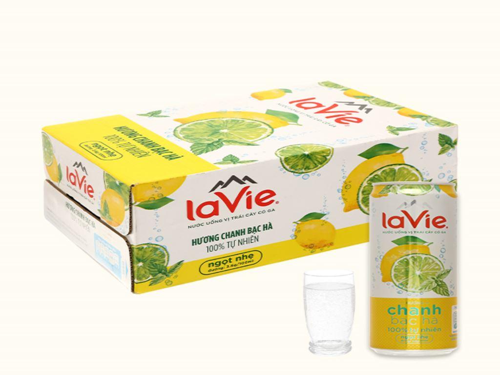 24 lon nước uống vị trái cây có ga La Vie Sparkling hương chanh bạc hà 330ml