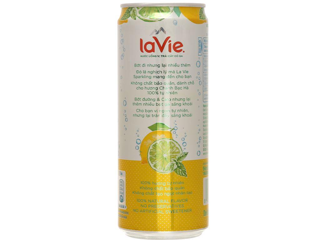 24 lon nước uống vị trái cây có ga La Vie Sparkling hương chanh bạc hà 330ml 4
