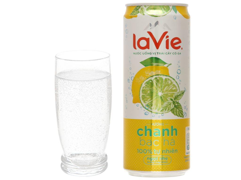 24 lon nước uống vị trái cây có ga La Vie Sparkling hương chanh bạc hà 330ml 8