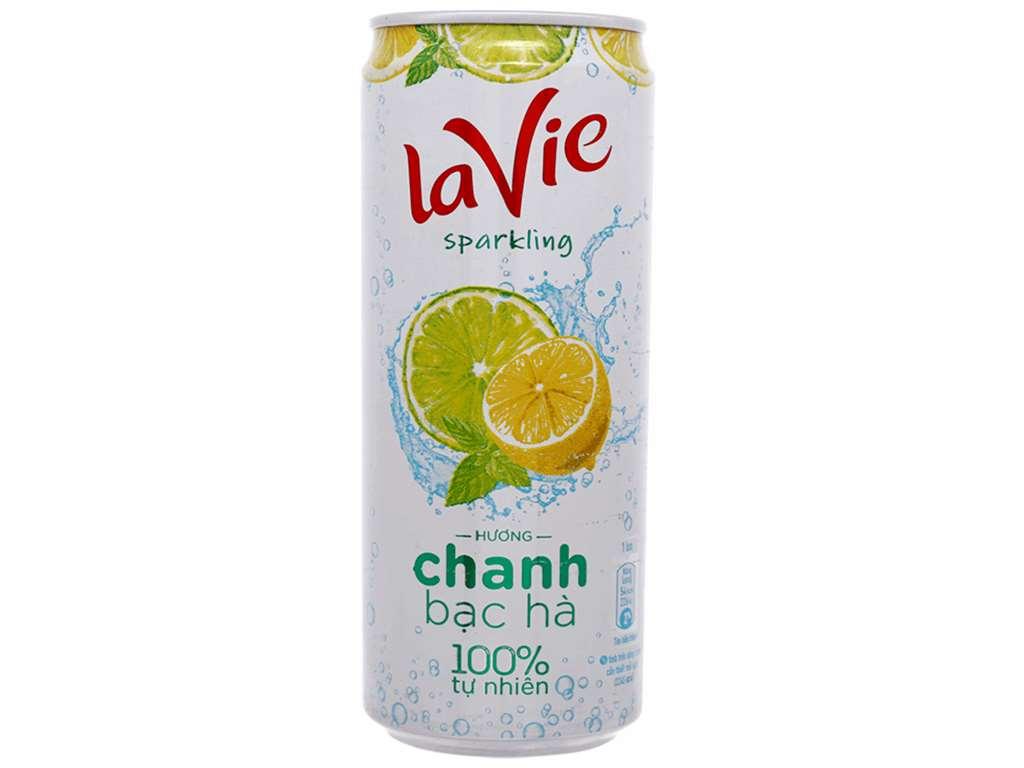 24 lon nước uống vị trái cây có ga La Vie Sparkling hương chanh bạc hà 330ml 2