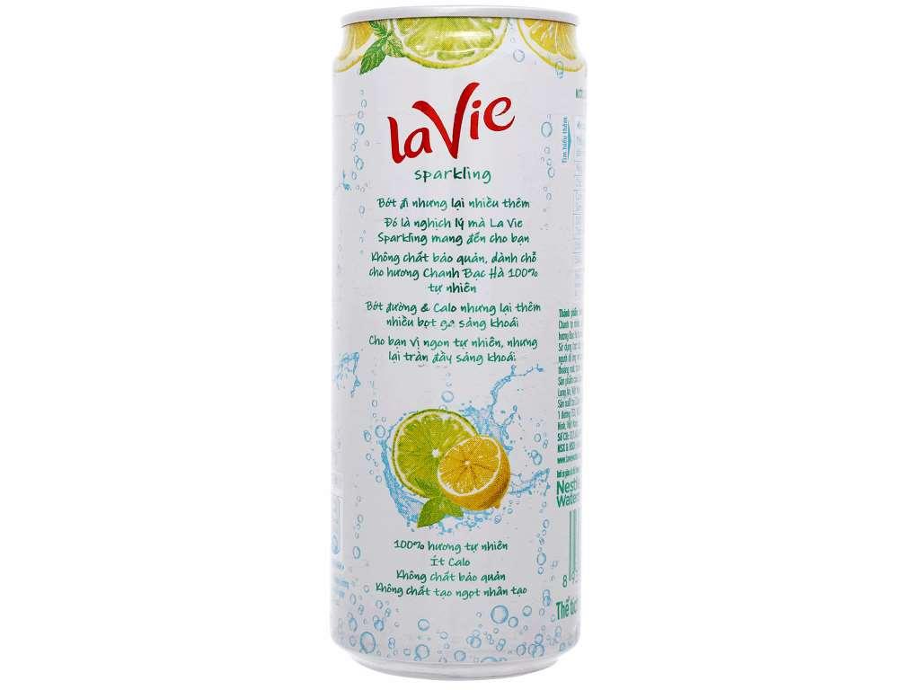24 lon nước uống vị trái cây có ga La Vie Sparkling hương chanh bạc hà 330ml 3