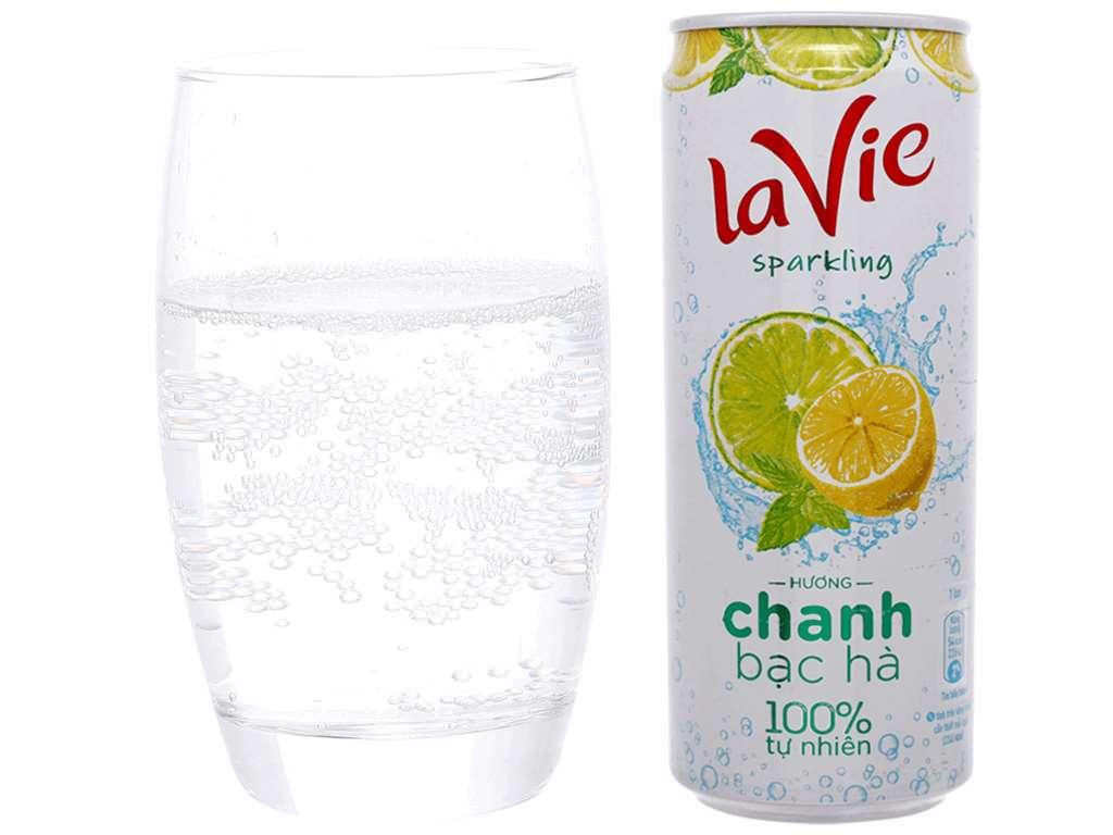 24 lon nước uống vị trái cây có ga La Vie Sparkling hương chanh bạc hà 330ml 5