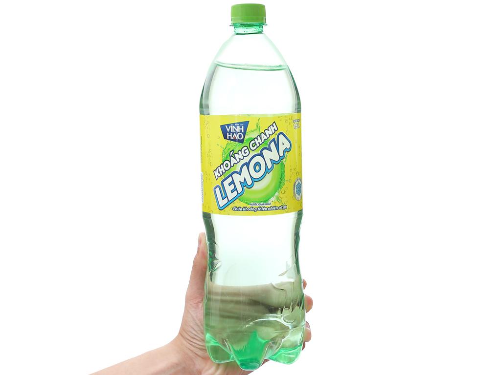 6 chai nước khoáng có ga Vĩnh Hảo Lemona vị chanh 1.5 lít 4