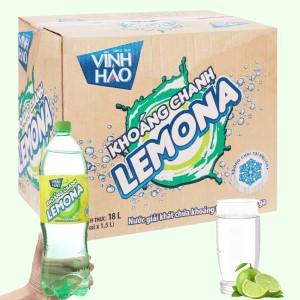 Thùng 12 chai nước khoáng có ga Vĩnh Hảo Lemona vị chanh 1.5 lít