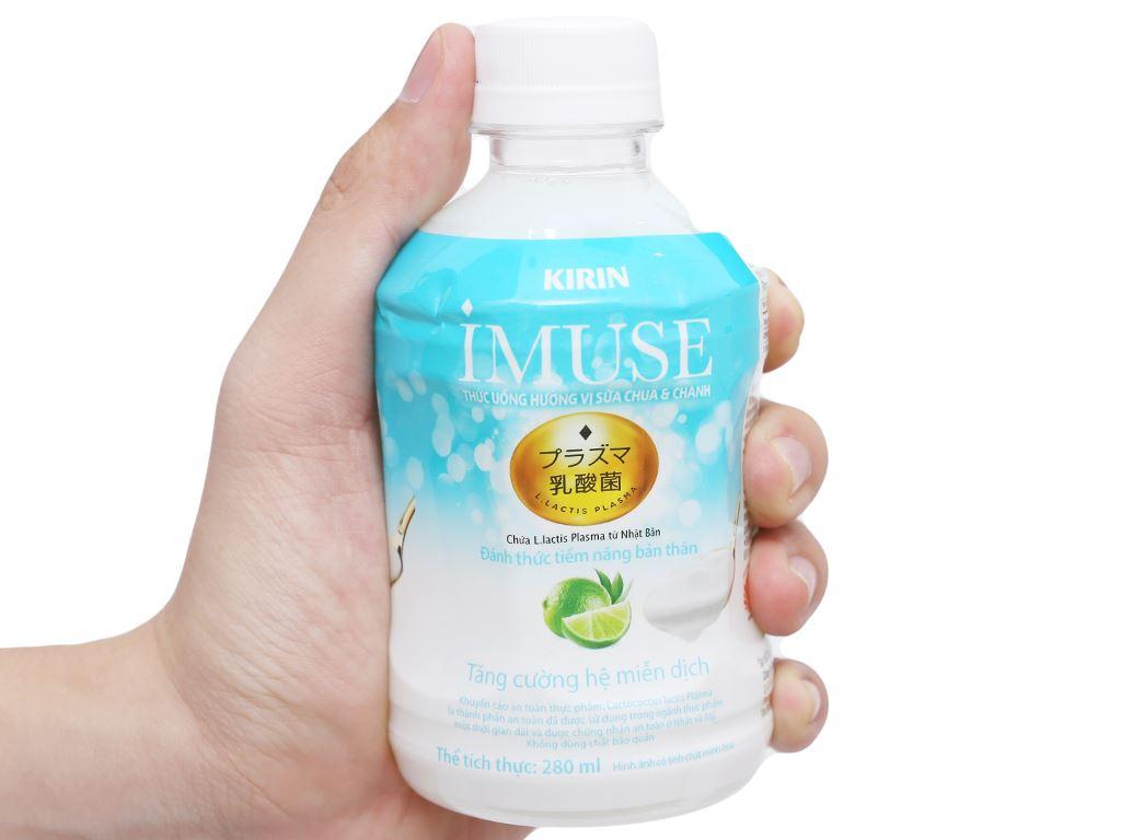 Thùng 24 chai nước uống Kirin Imuse vị sữa chua và chanh 280ml 9