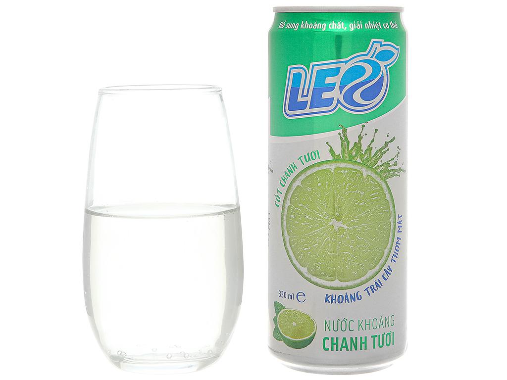 6 lon nước khoáng có ga Leo vị chanh tươi 330ml 6