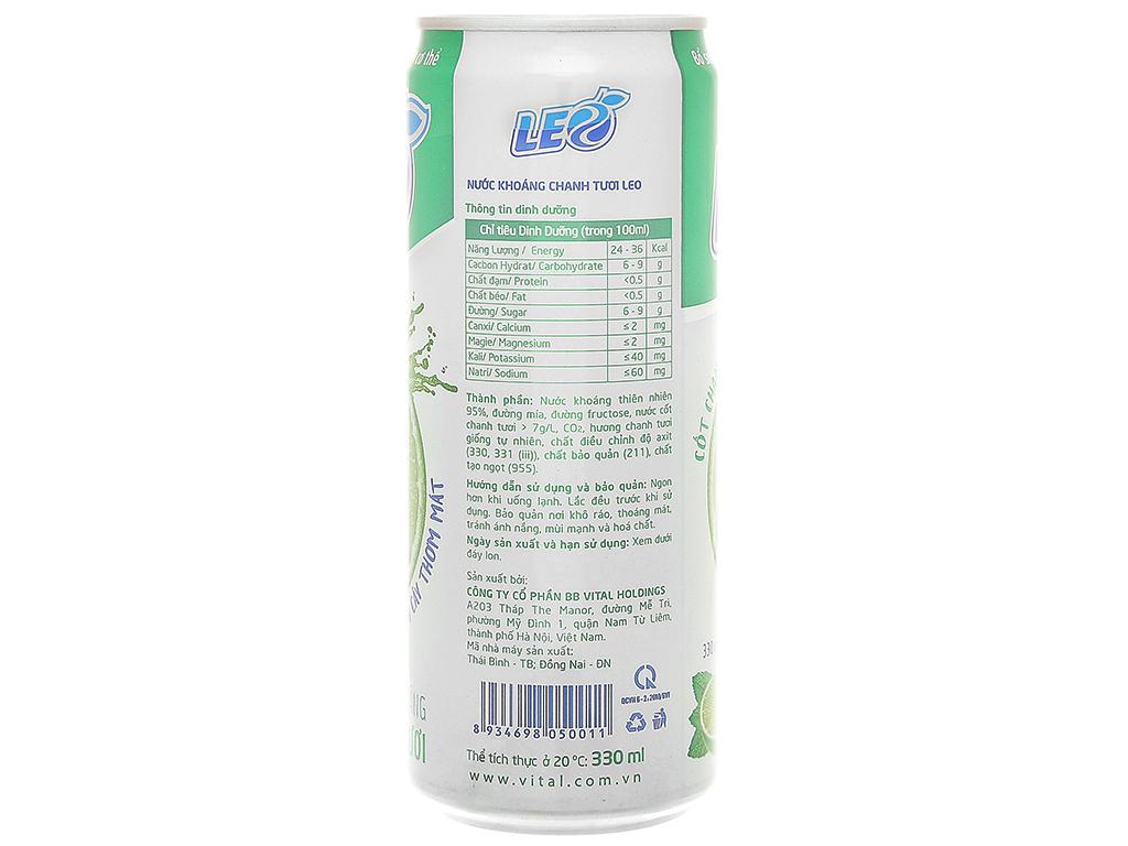 Thùng 24 lon nước khoáng có ga Leo vị chanh tươi 330ml 4