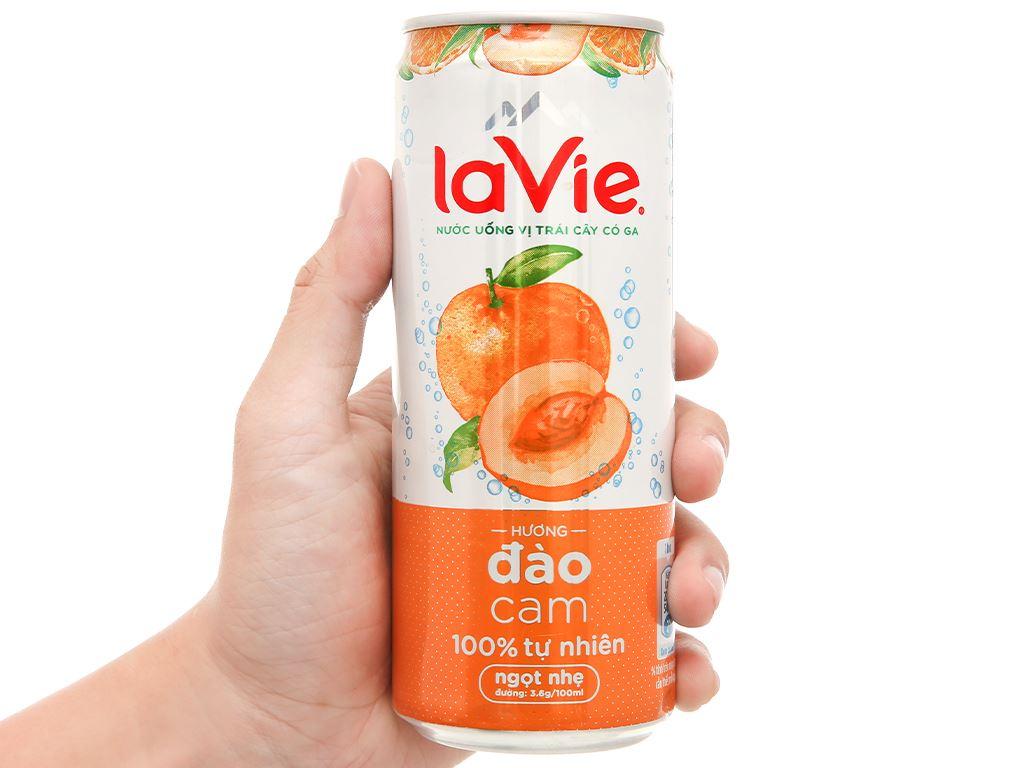 Thùng 24 lon nước uống vị trái cây có ga La Vie hương đào cam 330ml 3