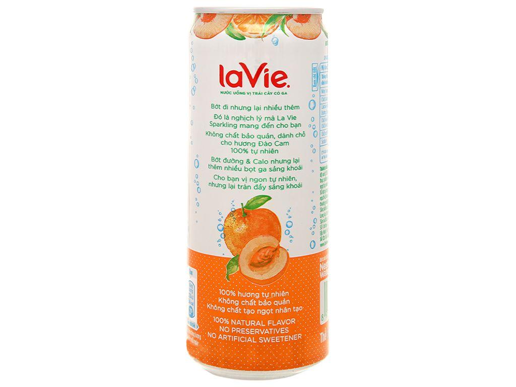 Thùng 24 lon nước uống vị trái cây có ga La Vie hương đào cam 330ml 5