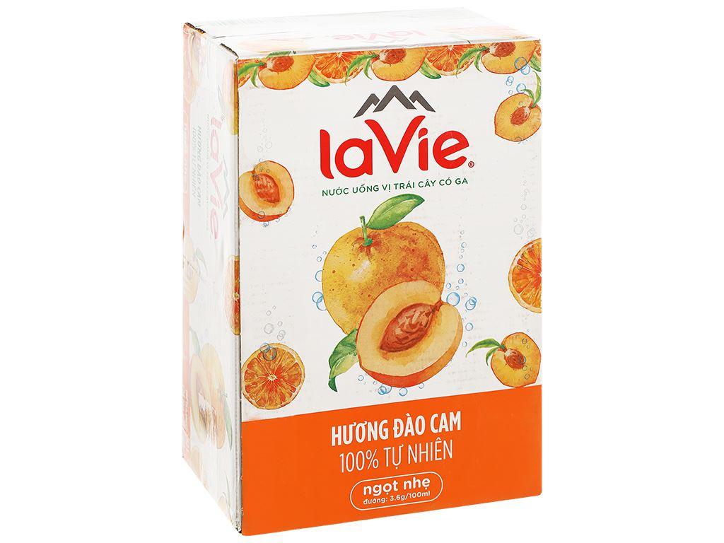 Thùng 24 lon nước uống vị trái cây có ga La Vie hương đào cam 330ml 1