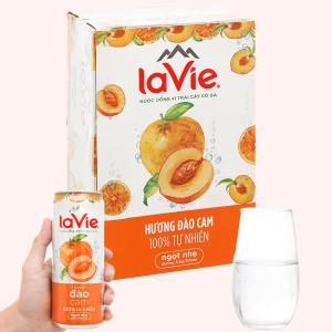 Thùng 24 lon nước uống vị trái cây có ga La Vie hương đào cam 330ml