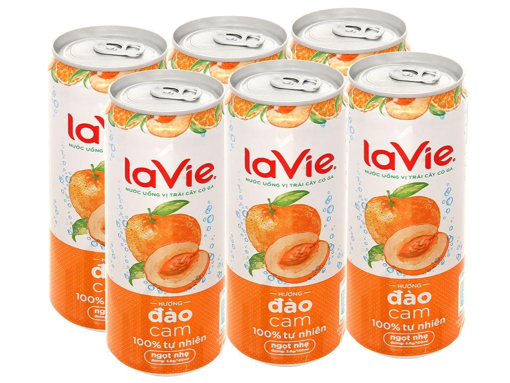 6 lon nước uống vị trái cây có ga La Vie Sparkling hương đào cam 330ml 1