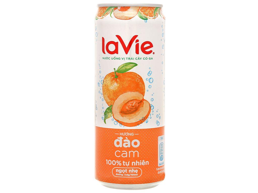 6 lon nước uống vị trái cây có ga La Vie Sparkling hương đào cam 330ml 3