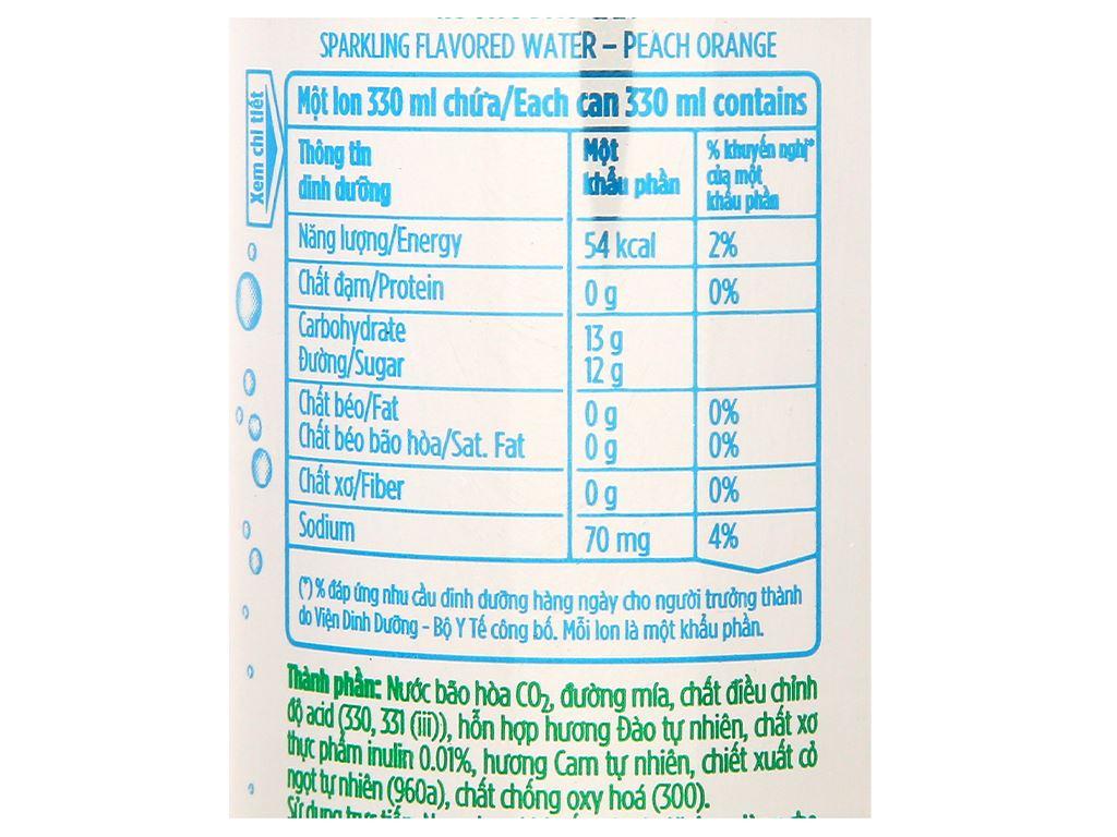 6 lon nước uống vị trái cây có ga La Vie Sparkling hương đào cam 330ml 5