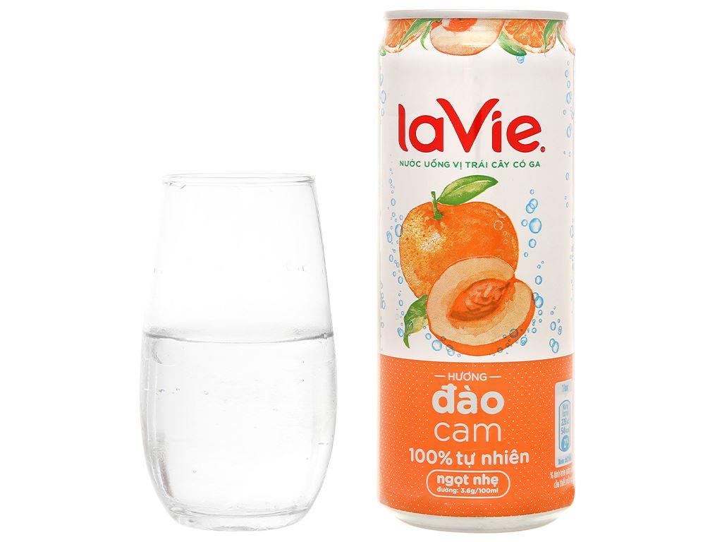 6 lon nước uống vị trái cây có ga La Vie Sparkling hương đào cam 330ml 6