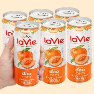 6 lon nước uống vị trái cây có ga La Vie Sparkling hương đào cam 330ml
