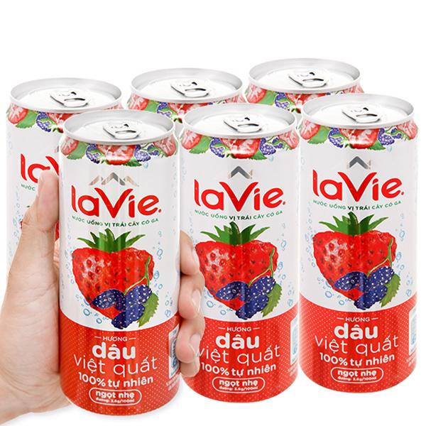Thùng 24 lon nước uống vị trái cây có ga La Vie hương dâu việt quất 330ml 2
