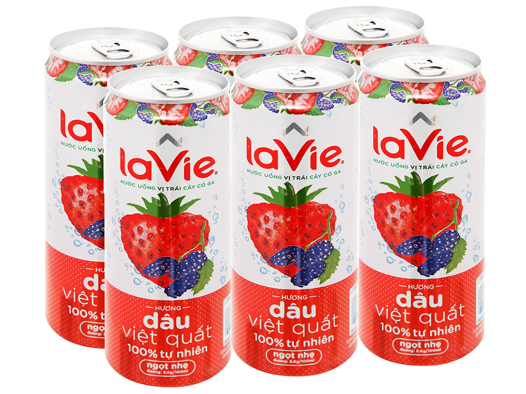 Thùng 24 lon nước uống vị trái cây có ga La Vie hương dâu việt quất 330ml 3