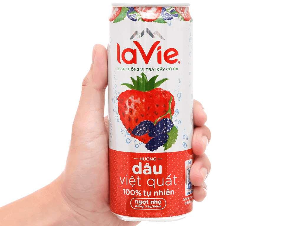 Thùng 24 lon nước uống vị trái cây có ga La Vie hương dâu việt quất 330ml 9