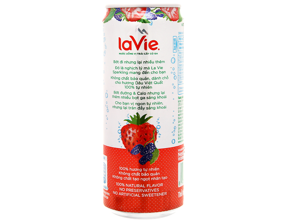 Thùng 24 lon nước uống vị trái cây có ga La Vie hương dâu việt quất 330ml 6