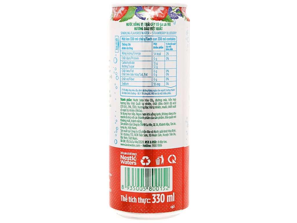 Thùng 24 lon nước uống vị trái cây có ga La Vie hương dâu việt quất 330ml 7