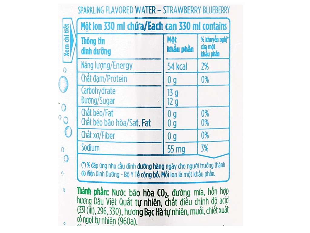 Thùng 24 lon nước uống vị trái cây có ga La Vie hương dâu việt quất 330ml 8