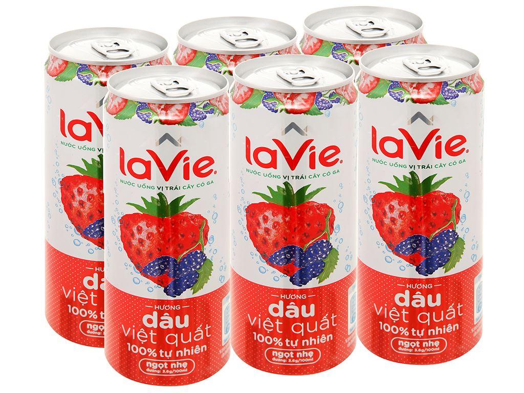 6 lon nước uống vị trái cây có ga La Vie Sparkling hương dâu việt quất 330ml 1