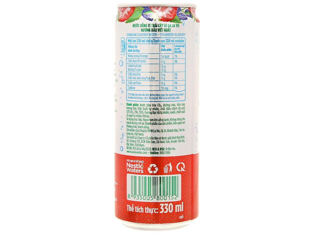6 lon nước uống vị trái cây có ga La Vie Sparkling hương dâu việt quất 330ml 5