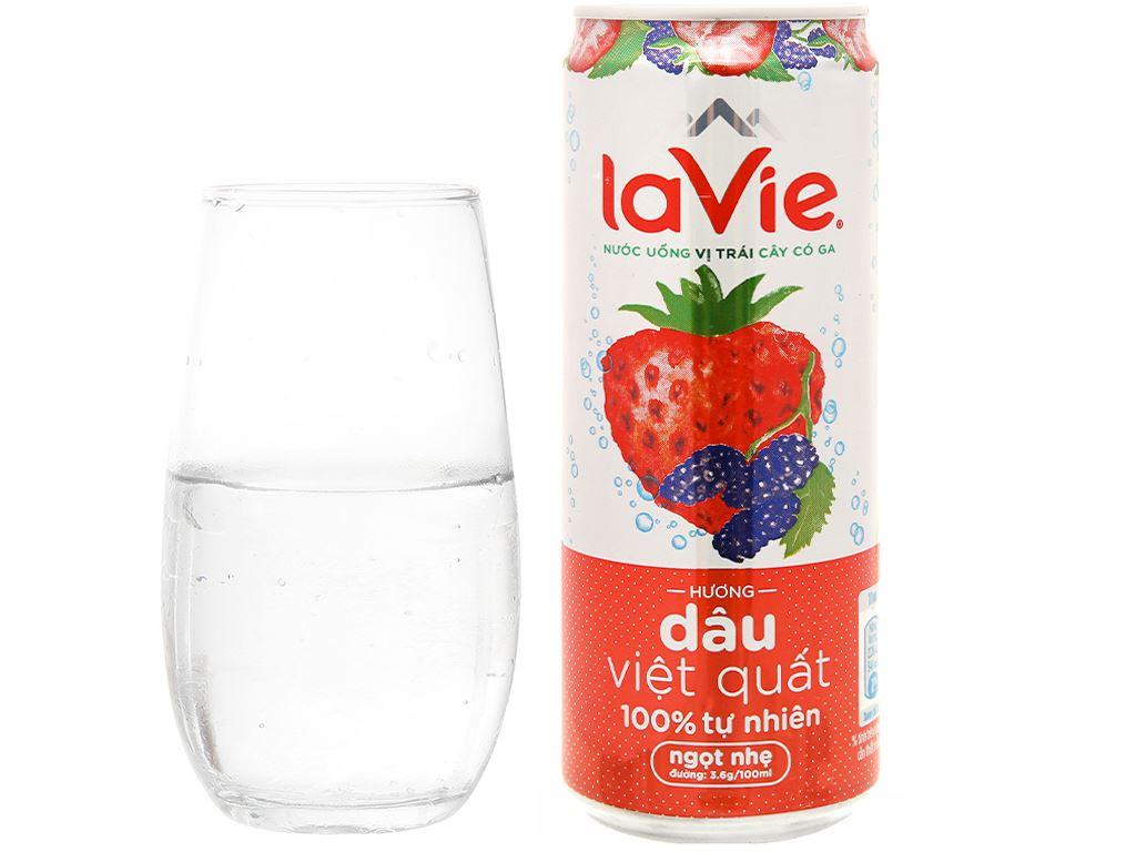 6 lon nước uống vị trái cây có ga La Vie Sparkling hương dâu việt quất 330ml 7