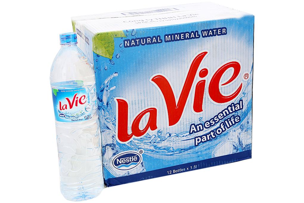 Thùng 12 chai nước khoáng La Vie 1.5 lít 1