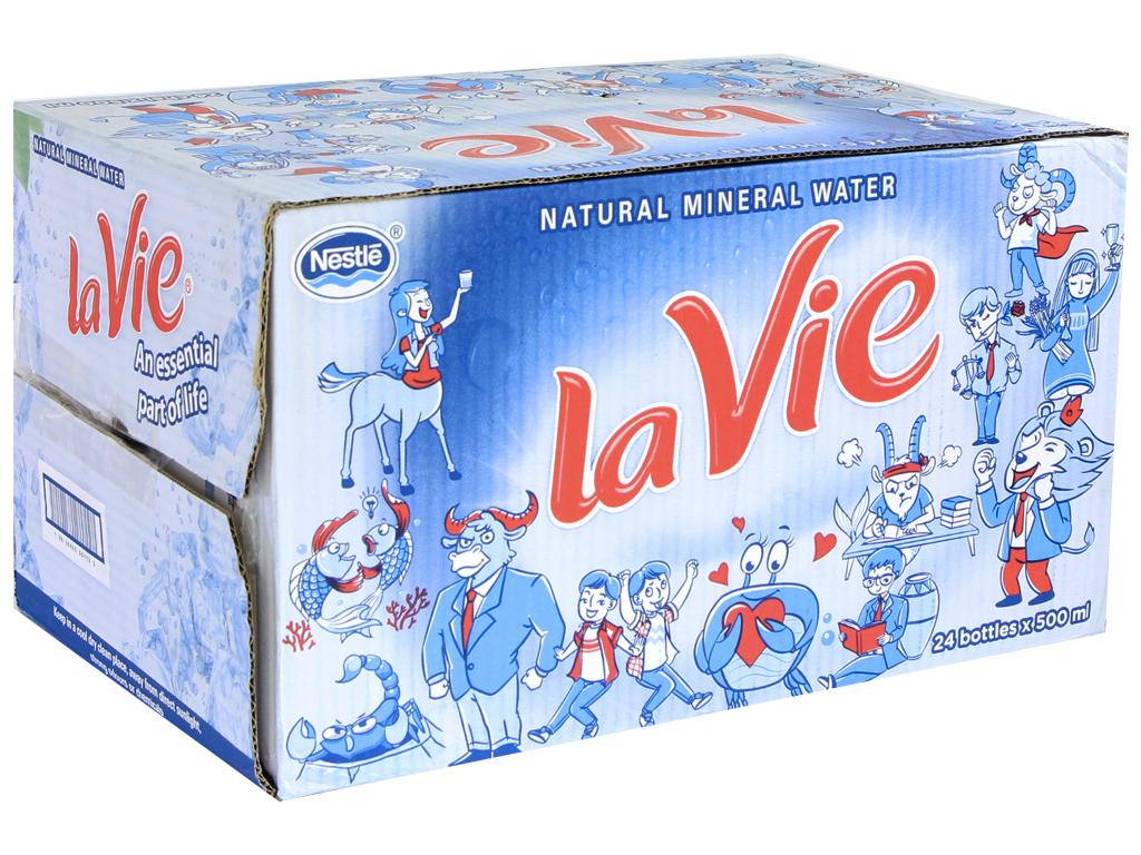 Thùng 24 chai nước khoáng La Vie 500ml 1