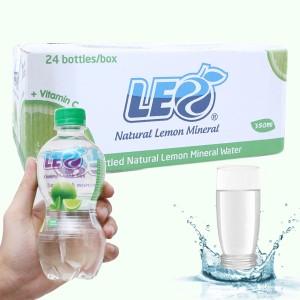 Thùng 24 chai nước khoáng có ga Leo vị chanh 350ml