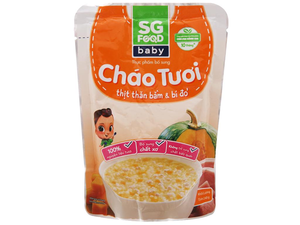 Cháo tươi thịt thăn bằm bí đỏ SG Food gói 240g 2