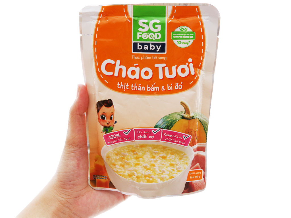 Cháo tươi thịt thăn bằm bí đỏ SG Food gói 240g 3