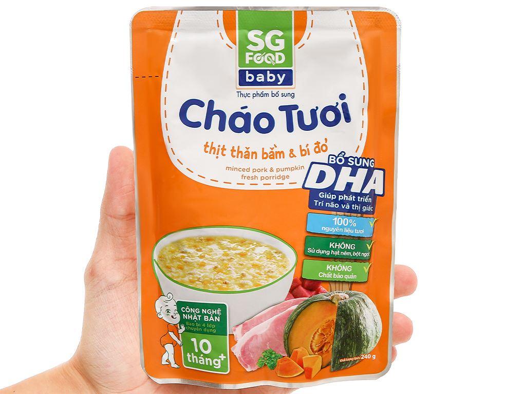Cháo tươi SG Food Baby thịt thăn bằm và bí đỏ gói 240g 7